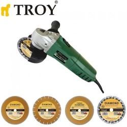 TROY - TROY 12115 Avuç Taşlama Ø115mm, 600W + 4 Adet Elmas Kesici Disk_Kopya(1)