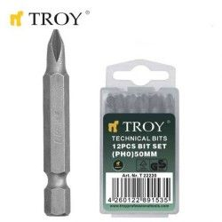 TROY 22223 Bits Uç Seti (PH3x50mm, 12Adet)