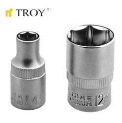 """TROY 26148 1/4"""" Lokma (Ölçü 9,0mm-Çap 12,8mm-Uzunluk 25mm)"""