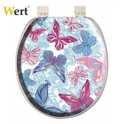 WERT - WERT 8214 Kelebek Desenli Süngerli Klozet Kapağı