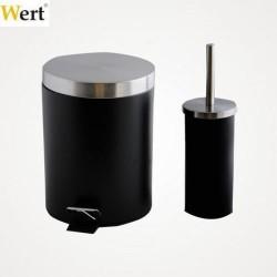WERT - WERT 8217 Banyo Çöp Kovası ve Klozet Fırçası - Siyah